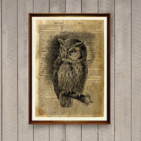 Lodge decor Owl poster Animal art print WA699