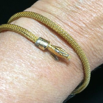 Egyptian Revival Snake Coil Bangle Bracelet, Rhinestone Eyes, Mesh Body,  Art Deco Style, Gold Tone, Figural Vintage Reptile Jewelry 718m