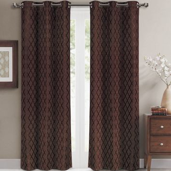 Chocolate Willow Blackout Window Curtain Panels (Two Panels )