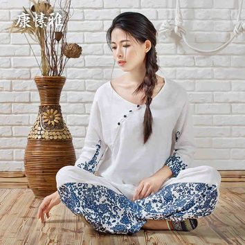 Large Size Loose Yoga Set Linen Yoga Shirt Pants Zen Meditation Clothing Woman Sportswear Set Large Size Gym Yoga Suit Tracksuit