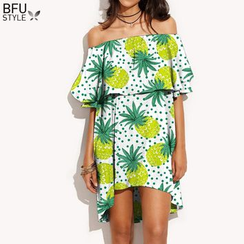 Pineapple Print Ruffles Slash Neck Dress Women Summer Off Shoulder Sexy Dress Robe Casual Short Boho Beach Dress Vestidos 2018