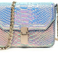 Hologram Snake Skin Leather Shoulder Bag Crossbody Bag with Chain