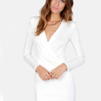 White Long Sleeve V Neck Bodycon Dress - Sheinside.com