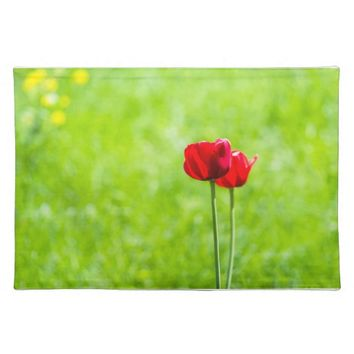 Two red tulip flowers cloth place mat