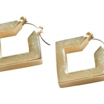 24K Yellow Gold Plated Square Modern Design Clip On Earrings