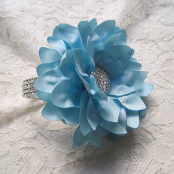 Wrist Corsage Light Blue Satin Rhinestone Bracelet Bride Bridesmaid Mother of the Bride Prom with Rhinestone Accent. Custom Order