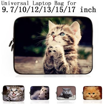 "Cute Cat 9.7 10 12 13  15 17"" Laptop Notebook Neoprene Protector Case Cover For 15.4"" Macbook Air/Pro 15.6"" samsung ASUS laptop"
