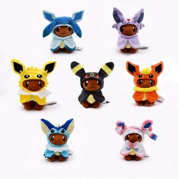 New Kawaii 7Pcs/Set Eeveelution Eevee Cosplay Jolteon Espeon Umbreon Flareon Glaceon Vaporeon Sylveon Plush Toy Free Shipping