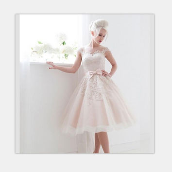 Free Shipping Vintage 1950's StyleTea Length Ball Gown Dress Wedding Short Bride Dress 2017 Made In China