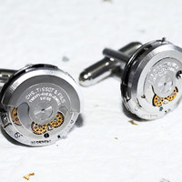 TISSOT Men Steampunk Cufflinks - RARE Luxury Swiss 21 Jewels Silver AUTOMATIC Vintage Watch Movement - Men Steampunk Cufflinks Cuff Links