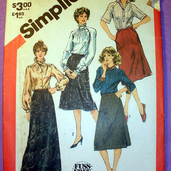 Women's Set of Skirts in 2 Lengths, Size 10 Simplicity 5748 Sewing Pattern Uncut Vintage 80's