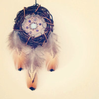 Rustic Amethyst Dream Catcher with Moonstone and Copper, Hippe Boho Decor