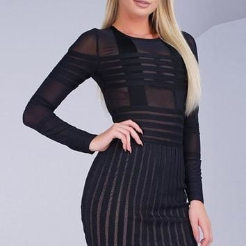Sheer Bandage Dress - Black