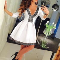Floral Lace V-Neck Sleeve Skater Dress