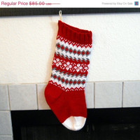 Hand knit Christmas stocking in red, grey and white, fair isle knitting