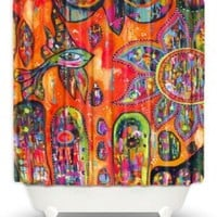 DiaNoche Designs Shower Curtains by Michelle Fauss Unique, Cool, Fun, Funky, Stylish, Decorative Home Decor and Bathroom Ideas - Flying Fish