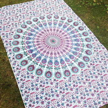 Indian Ethnic White Mandala Peacock Cotton Bedsheet Throw Wallhanging Beach Blanket Single Size