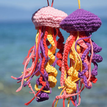 Jellyfish Amigurumi ornaments Crochet Summer decor beach house kids decoration nursery marine Nautical Decor ocean ornament pool house 2 pcs