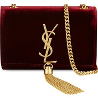 SAINT LAURENT - Small velvet monogram shoulder bag | Selfridges.com