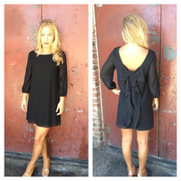 Black Bow Back 3/4 Sleeve Dress