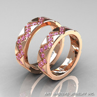Classic Armenian 14K Rose Gold Light Pink Sapphire Wedding Band Set R504BS-14KRGLPS