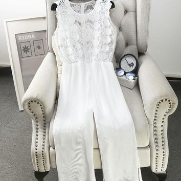 [Alphalmoda] Hollow Hook Floral Lace Top High Waisted Calf Length Pleated Chiffon Jumpsuit Women Summer Casual Slacks