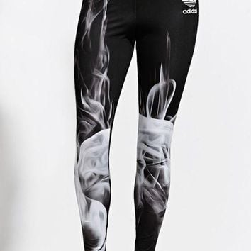 DCCKFC8 Adidas Rita Ora White Smoke Leggings - Womens Pants - Black