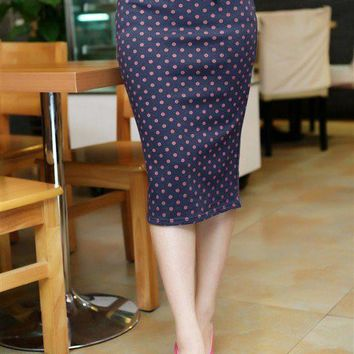 2016 Multi-Color Modern OL Style Women's Slim Fitted Knee Length Pencil Skirt High Waist Straight Lady Polka Dot Skirts