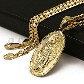 """Solid Brass Gold Diamond Cut Guadalupe Pendant w/ 5mm 24"""" Concave Cuban Chain B03G"""