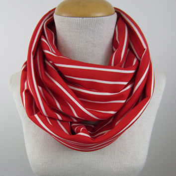 Striped Infinity Scarf - Red and White Striped Scarf - Bright Red Circle Scarf - Chunky Red Scarf