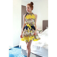 Color Block Halter Floral Print Pleated Dress