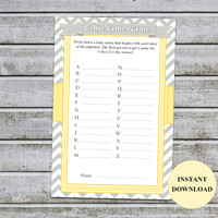 Baby Name Game / Yellow Baby Shower Games Printable Boy Girl Baby Shower Activities Gender Neutral Yellow Instant Download (542)