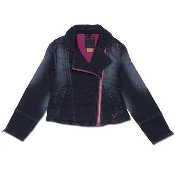 True Religion Indigo Stretch Knit Moto Toddler Jacket - Indigo