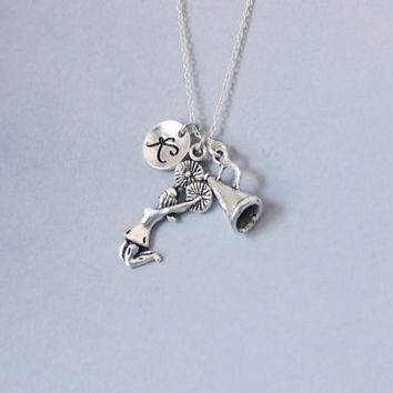 Cheer Necklace. Cheerleader Necklace. Personalized Initial Necklace. Friendship Necklace. Sterling Silver necklace. No.205