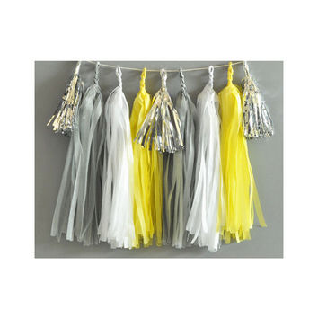 Paper Garland & Metallic Mini Tassels - 20 Tassel DIY Kit - Grey White Yellow Silver Foil - Wedding Decor Party Bridal Shower Baby Birthday