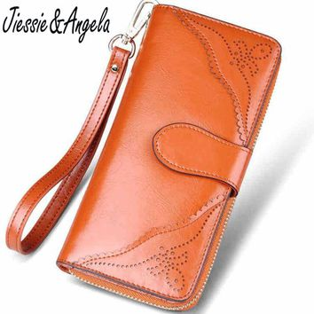 Jiessie & Angela Fashion Genuine Leather Women Wallets Vintage Ladys Clutch Wallet ID Card holder Coin Purse Pockets
