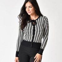 Banned Black & White Houndstooth Long Sleeve Izzy Sweater Cardigan