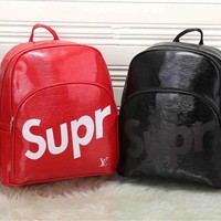 """Louis Vutitton×Supreme"" Unisex Casual Fashion Personality Logo Letter Backpack High Capacity Double Shoulder Bag"