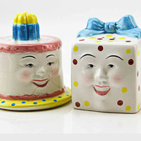 Vintage CLAY ART Happy Birthday Cake and Present Salt Pepper Shakers Happy Retro Faces Fun Anthropomorphic Set