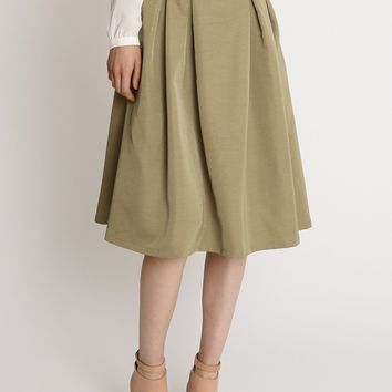 English Tea Flare Skirt In Olive | Ruche