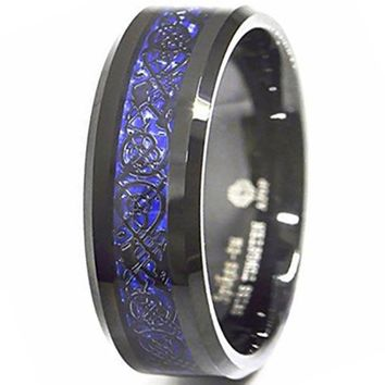 CERTIFIED 8mm Tungsten Carbide Ring Black Celtic Dragon Blue carbon fibre Mens Jewelry