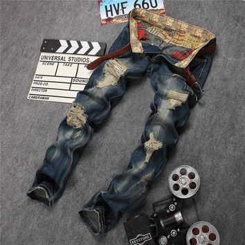 Ripped Holes Strong Character Men's Fashion Pants Jeans [45271384089]
