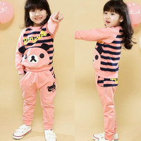 Sweet Girls Kids Striped Outfits Tracksuit Cartoon Bear Sweatshirt Sweat Pants