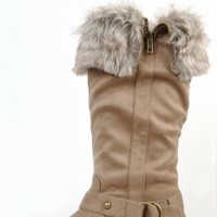 Fur Suede Strappy Knee High Riding Boots | MakeMeChic.com