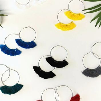 Holy Hoop Oversized Fringe Color Hoop Earrings