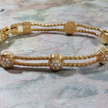 Vintage Swarovski Bracelet Clear Crystal Rhinestones Embellish Bright Gold Tone Metal Like New Condition Wear It Dressy or Casual Well Made