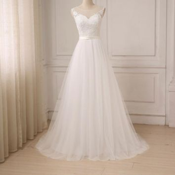 Lace Wedding Dress O-Neck Tulle Beach Bridal Gown Bohemian Wedding Gowns