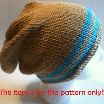 PATTERN ONLY: Stripped hipster slouchy hat/beanie pattern for both adults and teens