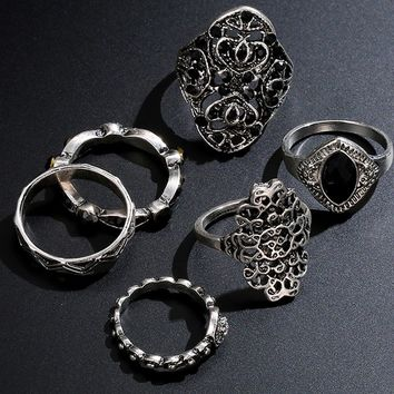 Six Piece Set Vintage Style Silver Arrow Moon Finger Knuckle Rings