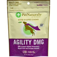 Pet Naturals of Vermont Agility DMG Bone Shaped Chews for Dogs Chicken Liver - 120 Chewables
